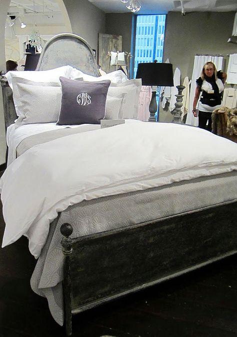 white bedding / monogram