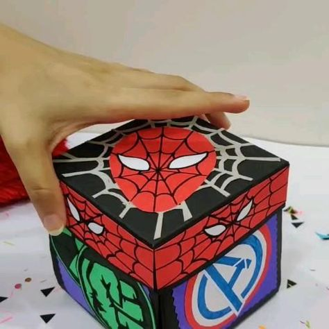 Avenger themed pop up box birthday present