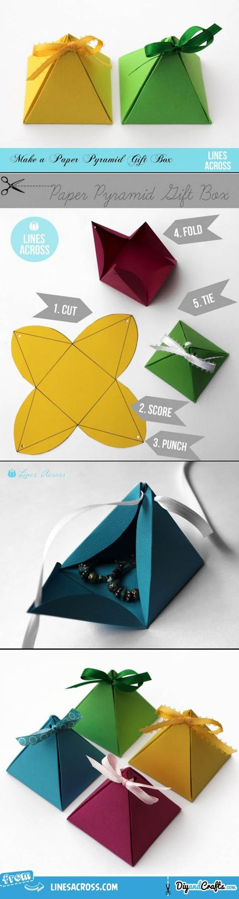 Paper Pyramid Gift Boxes   #DIY