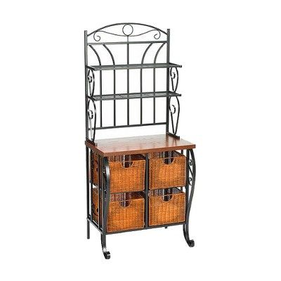Baker S Rack With Wicker Storage Iron Black Aiden Lane With