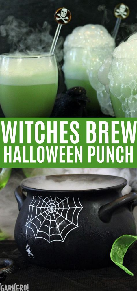Halloween Punch (Witches Brew) Recipe , This Witch's Brew Halloween Punch will make all your goblins grin! It's an easy sparkling lime punch the whole family will love. Add dry ice to the punch bowl for an extra-spooky effect!  #dryice #dessert #beverage #halloween #party #halloweenappetizers