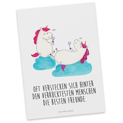 Postkarte Einhörner Sekt aus Karton 300 Gramm  weiß - Das Original von Mr. & Mrs. Panda.  Diese wunderschöne Postkarte aus edlem und hochwertigem 300 Gramm Papier wurde matt glänzend bedruckt und wirkt dadurch sehr edel. Natürlich ist sie auch als Geschenkkarte oder Einladungskarte problemlos zu verwenden. Jede unserer Postkarten wird von uns per hand entworfen, gefertigt, verpackt und verschickt.    Über unser Motiv Einhörner Sekt  Dieses Einhorn ist das schönste Geschenk für eine gute Freund