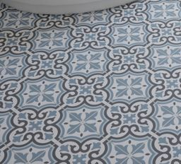 Wickes Melia Blue Patterned Porcelain Tile 200 X 200mm Wickes Co Uk Wickes Flooring Blue Floor
