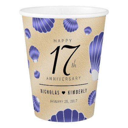 Elegant 17th Shells Beach Sand Wedding Anniversary Paper Cup