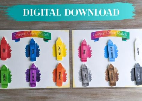 Color Matching, Crayon Color Match Game, Instant Download Activity, Toddler Activity, Preschool Game, Homeschool Activity, Learn Colors