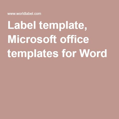 microsoft office label template