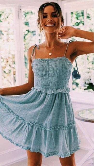 Women Summer Dress Printed Beach Mini Sleeveless Evening Party Short Dress UK