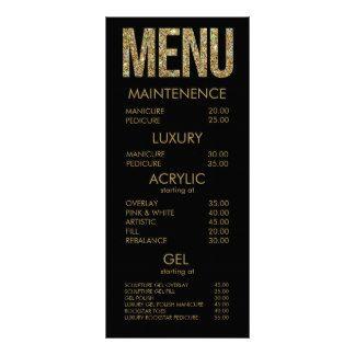 Black & Gold Glitter Typography Salon Menu Cards Personalized Rack Card