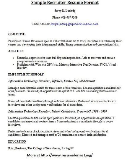 For more sample resumes of recruiters visit wwwresumeformatorg - histology assistant sample resume