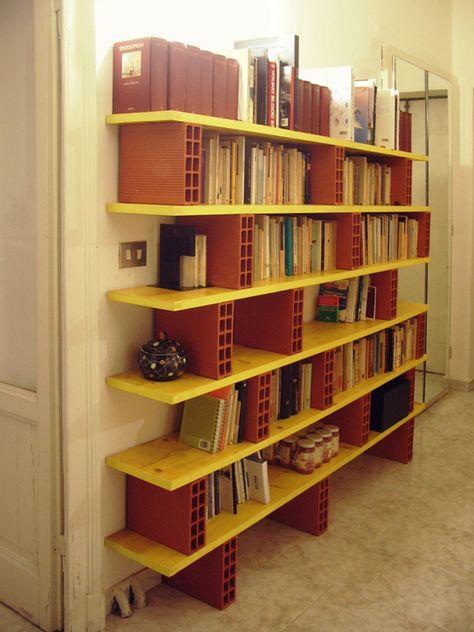 bookcase with bricks #bookcase #library #diy