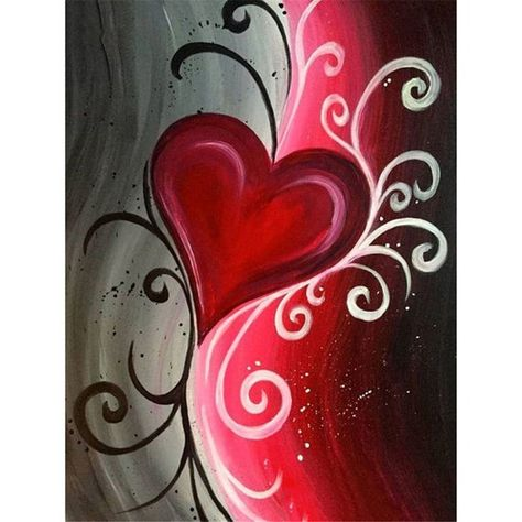 Abstract heart paint and sip, beginner canvas painting ideas, love canvas painting, black Easy Canvas Painting, Simple Acrylic Paintings, Heart Painting, Acrylic Canvas, Diy Canvas, Diy Painting, Canvas Art, Painting Abstract, Heart Canvas