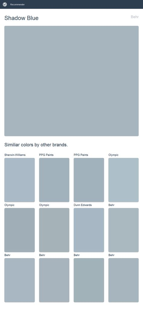 Shadow Blue Behr Click The Image To See Similiar Colors By Other Brands