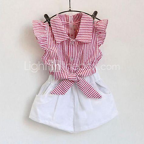 New girls shorts set Blue navy striped fly sleeve top+white pants set girl boutique clothing