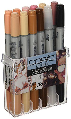Copic Ciao Marker Set Skin Tone Pack Of 12 Copic Ciao