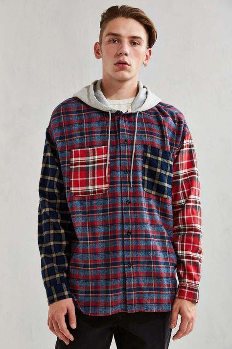 UO Hooded Patchwork Flannel Button-Down Shirt - Urban Outfitters #men'sbuttondownshirt #men's #button #down #shirt #urban #outfitters