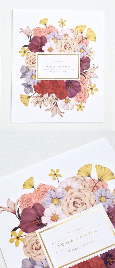 Beautiful floral stationery, floral wedding invitation // Cempaka Surakusumah: Wedding Invitation