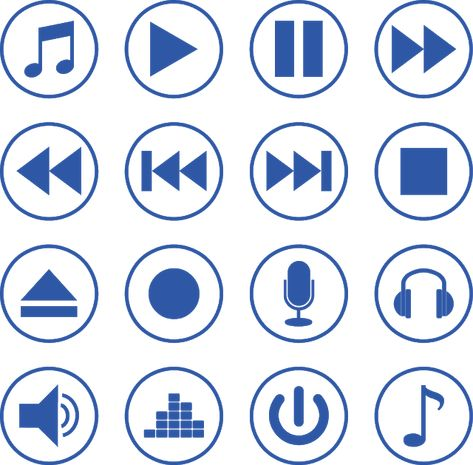 Multimedia Media Player Video Web Movie Vector Button Interface Play Music Pause Audio Volume Sound Control Design Vector Music Logo Color Set
