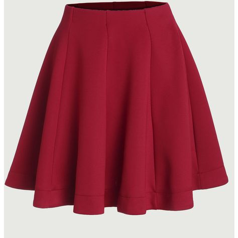817f9f728b SheIn(sheinside) Red Vertical Panel Flare Skirt ( 14) ❤ liked on Polyvore  featuring skirts