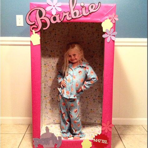 this would make an adorable photobooth backdrop! A life-size Barbie box made for little girls birthday party