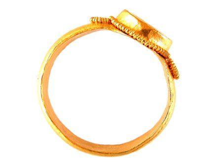 Mid 6thC Merovingian gold finger ring with plain bezel. Saint Dizier, France.
