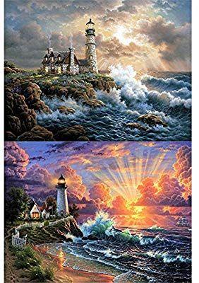 5D DIY My Diamond Art Diamond Painting Kit Blue Sky Lighthouse NEW