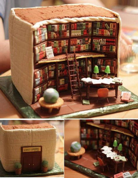For those who are a fan of books, how about a slice of this cake library?