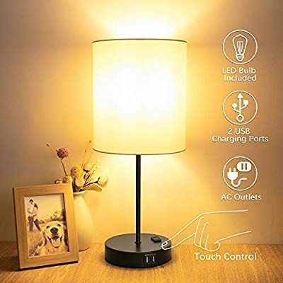 Table Lamp Touch Control 3 Way Dimmable Bedside Lamp 2 Fast Usb Charging Ports Touch Lamp Desk Lamp Ac Outlet Moder In 2020 Touch Lamp Nightstand Lamp Led Desk Lamp