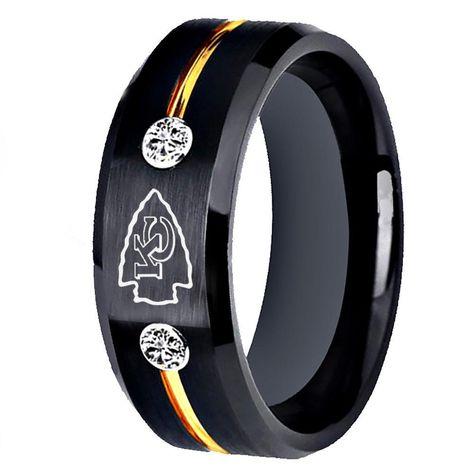 Kansas City Chiefs Tungsten Ring 8mm Wedding Band Jewelry Men