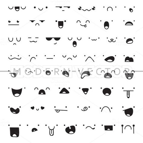 Set 50 different doodle emotions by Modern vector on @creativemarket