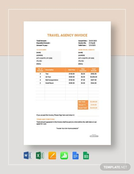 Travel Agency Company Invoice Template Free Pdf Word Excel Apple Pages Google Docs Google Sheets Apple Numbers Invoice Template Learning Template Travel Agency