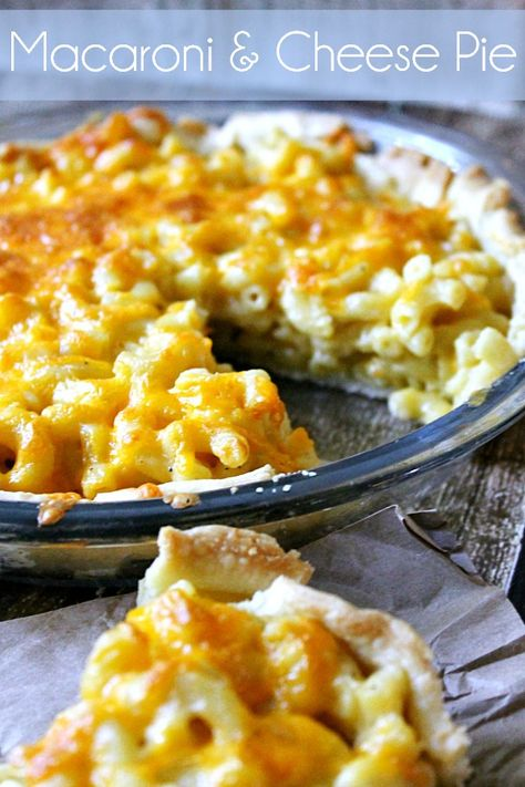 Macaroni and Cheese Pie Cheesy Mac  Cheese baked right in a flaky pie crust! Might be something good to try @Jennyy71