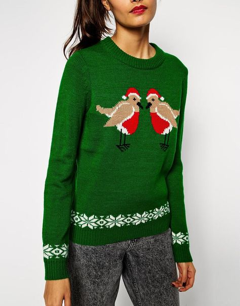 ASOS Charity Holidays Sweater With Kissing Robins In Aid Of The ASOS Foundation