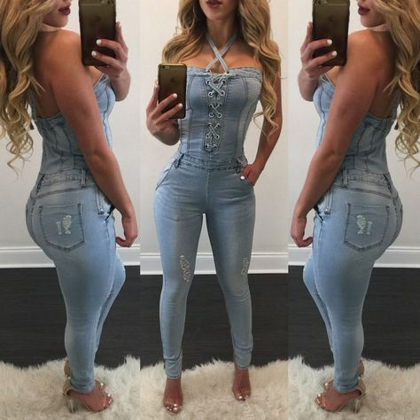 46f92e260f89 ITFABS Newest Arrivals Fashion Hot Women Casual Sexy Halter Backless Denim  Overall Straps Jumpsuit Lace Up Party Bodysuits  Affiliate