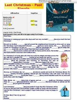 This worksheet aims to revise Past Simple tense in a gap-filling exercise. Student's have to read Hannah's diary and fill in the gaps using Past Simple (affirmative and negation). Hannah is recounting the fun time she had during last year's Christmas holidays.