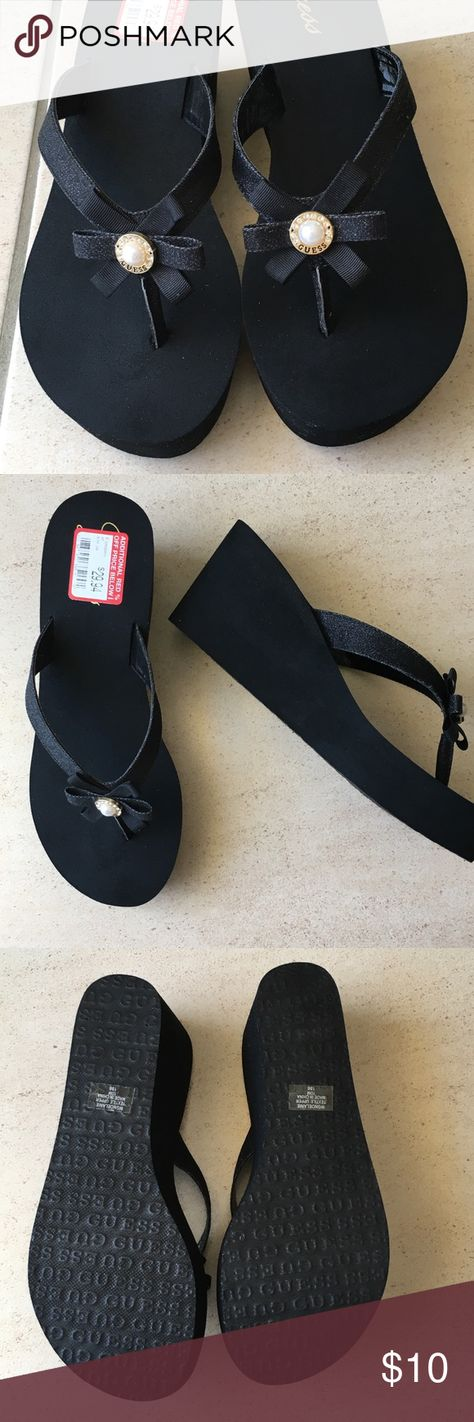 35e3ef66e62d5b Guess Platform Flip Flop size 10 Black glitter Guess flip flop with pearl    rhinestone toe accent. Heal is 3 inches high