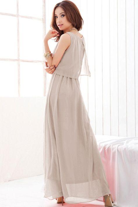 Elegant Sleeveless Maxi Dress With Chiffon Overlay