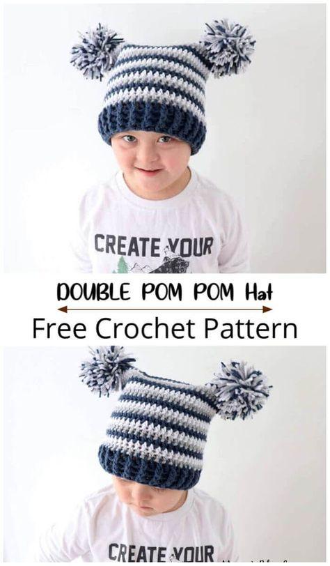 Free Crochet Double Pom Pom Hat Pattern - 10 Free Crochet Hat Patterns For the Whole Family         #crochet #crochetpattern #crochetlove #freecrochetpattern #freepattern #diy #gifts #diygifts #crafts #crochethat