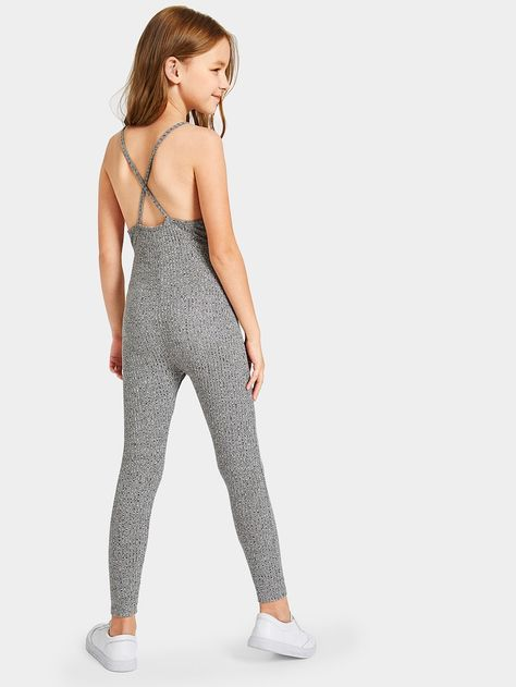 Product name: Girls Caged Neck Marled Knit Skinny Jumpsuit at SHEIN, Category: Girls Jumpsuits