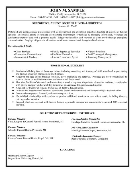 Funeral Director Resume Sales Executive Resume Sample Job - funeral director resume