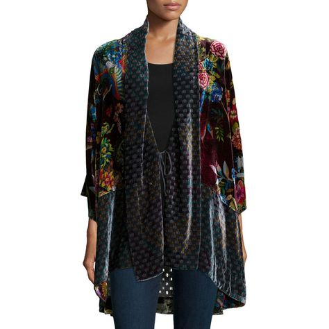f58c42445 Johnny Was Collection Dream Multi-Print Velvet Kimono Jacket ($235) ❤ liked  on Polyvore featuring plus size women's fashion, plus size clothing, ...