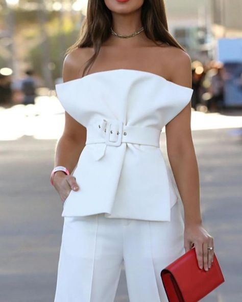 Strapless Fold Pleat Belted Top