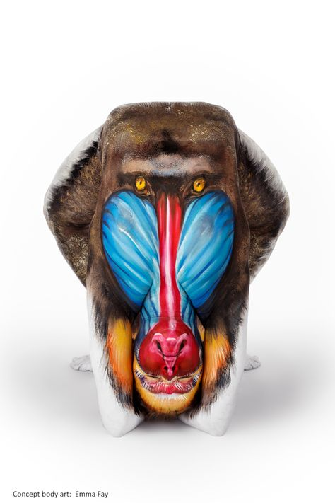 MANDRILL - 'Marvels of Nature' – Emma Fay http://ilovebodyart.bigcartel.com/product/mandrill-emma-fay