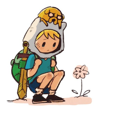 Adventure Time Finn Mertens The Human Jake The Dog Flower - Cartoons -