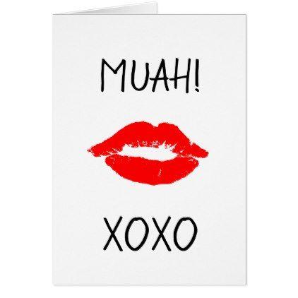 Happy Valentine S Day Card Red Lips Kiss Muah Zazzle Com Happy