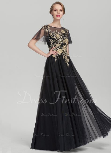 40727b79719 A-Line Princess Scoop Neck Floor-Length Tulle Mother of the Bride Dress  With Lace (008131947) - Mother of the Bride Dresses - DressFirst