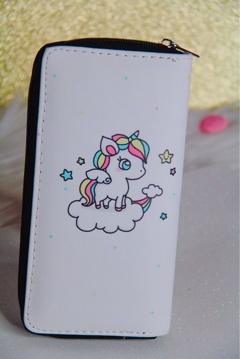 Unicorn Dream White wallet with zipper