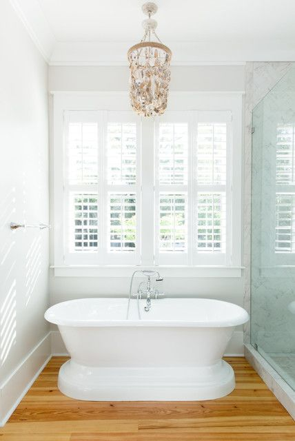 Oyster Shell Chandelier Amazing Traditional Walk In Shower Bathroom With White Freestanding Tub And White Walls Herringbone Tile Light Hardwood Floors Bat French Country Bathroom Luxury Interior Design French Country Bedrooms