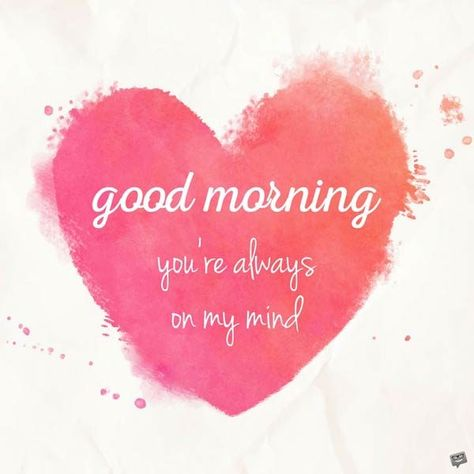 Good Morning. You're always on my mind.