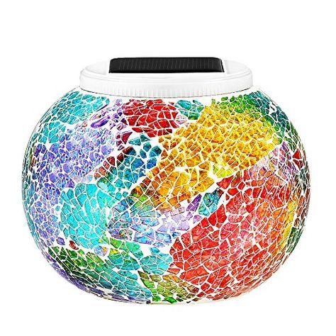 Stunning GRDE Mosaik Solar Lampen Weihnachtsleuchten Gartenleuchten Garten Lampen LED Magic Sonnenschein Kugel Leuchten Farbe Wechselndene Sch ne Nachtli u