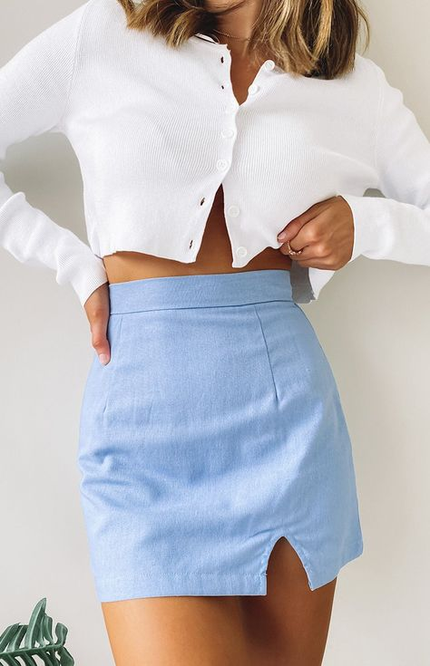 Cute Casual Outfits, Girly Outfits, Blue Skirt Outfits, White Girl Outfits, Cute Vintage Outfits, Gym Outfits, Teen Fashion Outfits, Outfits For Teens, 80s Girl Fashion